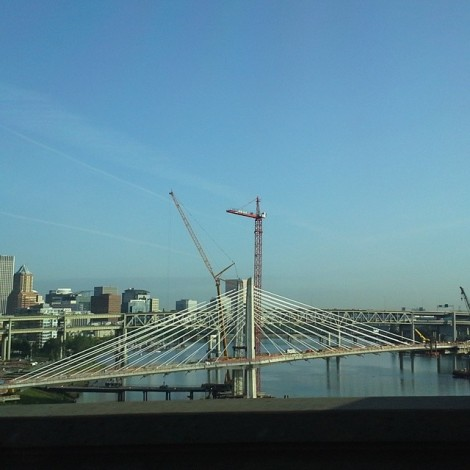Portland Oregon, from a bus on the Ross Island Bridge.
