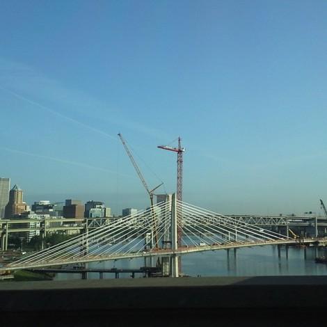 Portland Oregon, from a bus on the Ross Island Bridge.