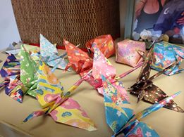 Cranes made by groups, with students, with friends, with religious communities.