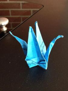 Cranes out of different materials, and held onto because of the memories and associations.