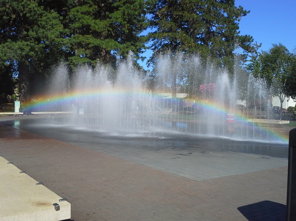 An amazing rainbow in a fountain -- I loved spotting this treasure!