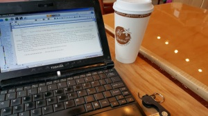 Set up for a post-work writing-date at one of our favorite writing-spots.