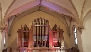 I spent much of the talk admiring the pipe organ at the front of the sanctuary.