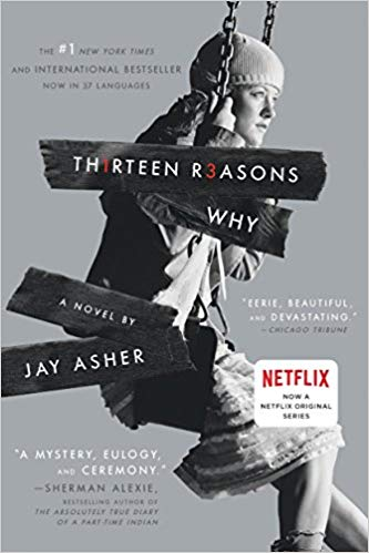 The cover of the book Thirteen Reasons Why (spelled Th1rteen r3asons Why. With the numbers in red lettering, the rest in while). by Jay Asher. The image is in black and white and shows the profile of a teen girl, sitting on a swing.